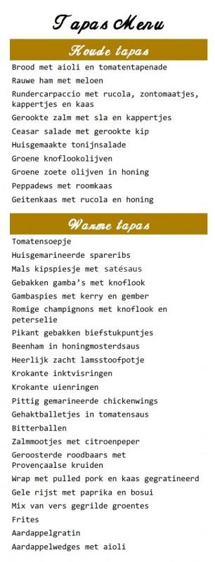 Tapas menu web